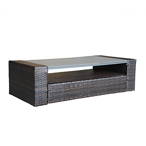ORNO TTOBE All Weather Outdoor Patio Coffee Table with Storage and Wood Top
