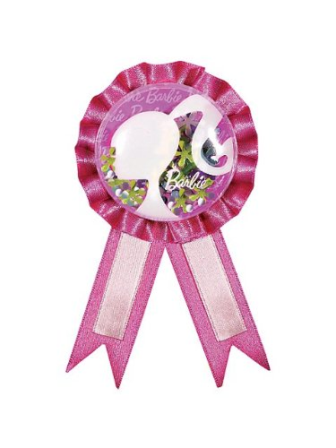 Barbie All Dolled Up Award Ribbon with Confetti, 6 x 3-3/4 Inches