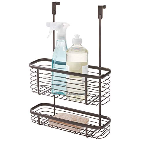 iDesign Axis Over the Cabinet 2-Tier Kitchen Storage Basket Organizer for Aluminum Foil, Sandwich, Cleaning, Garbage Bags, Bath Supplies, 5.1