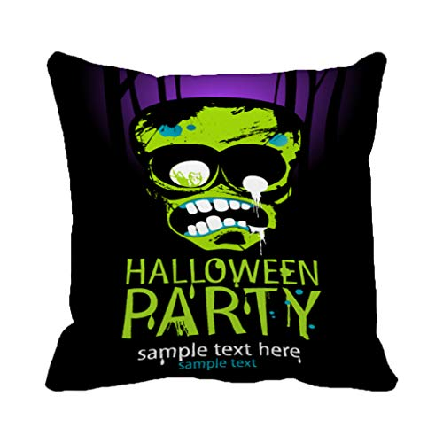 Batmerry Halloween/Thanksgiving Theme Decorative Pillow Covers 18 x 18 inch,Halloween Party Zombie Flyer Trick Treat Club Spooky Scary Skull Throw Pillows Covers Sofa Cushion Cover Pillowcase