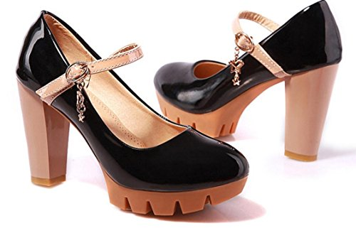 Shoes Round Waterproof Large Women Non Single Shoes Slip Thick Mouth Black Shallow XDGG Head Leather Heels Patent Platform High fgWqSwA