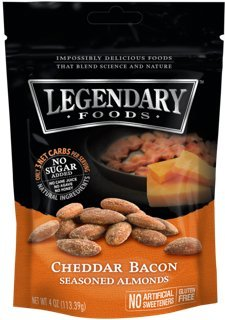 Legendary Foods Cheddar Bacon Seasoned Keto Almonds - Low Carb Paleo Nuts - Natural & Organic Food - Quick, Healthy, Nutritious, Sugar Free Snack - Gluten Free (4oz - 4 pack)