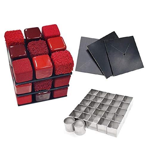 Emousport Rubiks Cube Cake Mold Set Dessert Mold Fondant Cake Decorating Supplies (set of 30pcs)