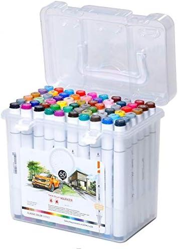 マーク・ペンセット小学校初級アニメアートデザイン手は水彩ペン塗装塗装します クリーンカラー (Size : 60 colour)