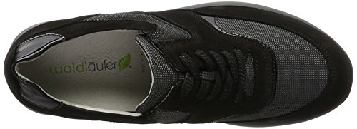 nubuk Negro Schwarz Matura Zapatos Piel Con Hiroko 001 Cordones De Nub Mujer Slack Waldläufer s xaqgnfw