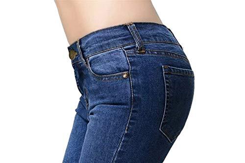 Tinta Donna Di Grazioso Unita Biran Tasche Svasati Anteriori Elasticizzati Jeans Cerniera Dunkelblau Con Casual Pantaloni Da wq8XzInTX