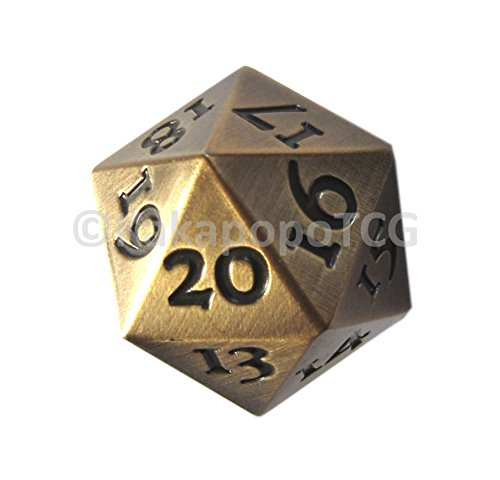 Metal Countdown (Extra Large Solid Metal Gold D20 Countdown Dice 20 face Count Down Counter 20 faced Golden Extra Heavy)