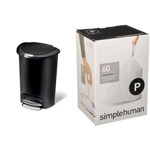 Simplehuman 50 Litre 13 Gallon Semi-round Plastic Step Trash Can, Black