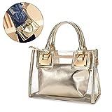 Clear Crossbody Handbags, OURBAG Fashion Women's Waterproof Clear Handbag Top Handle Shoulder Bag Transparent Purse Gold