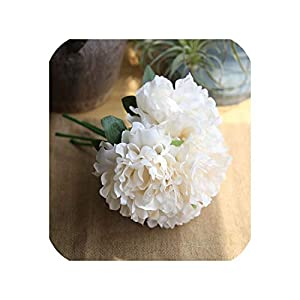 Fashion-LN 5PCS Silk Peony Bouquet for Wedding Decoration Artificial Flower Peony Bouquet Party Home Decor,Beige 101