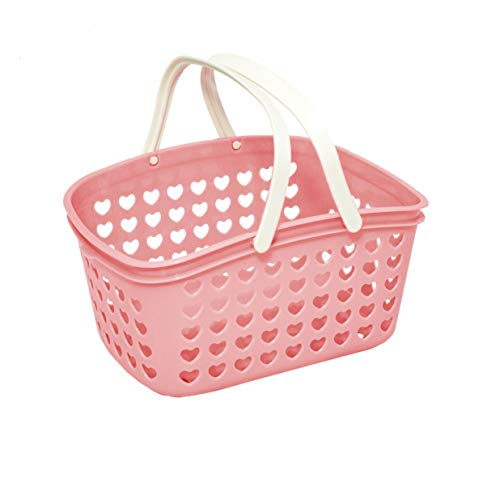 Plastic Organizing Storage Basket with Handles and Holes - Small Bin for Shower, Closet, Kitchen, Garden, Bathroom, Toys, Candy by Valenoks (Soft-Pink)