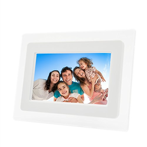7 Inch TFT LCD Screen Digital Photos Display Frame with Calendar Support Tf Sd /Sdhc /Usb Flash Drives(white)- Support 32GB SD Card-【Upgrade (Color Digital Tft Lcd)