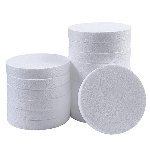 Ruisita 16 Pack Craft Foam Disc Circle White Polystyrene Foam Block for DIY Arts and Sculpture (6
