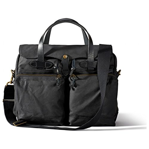Filson 24 Hour Tin Briefcase 70140 - Black - Best For Business - With Large Pockets For Laptop, Tablet, Phone, Books, Pens, And Power Cords – Durable Tin Cloth - With Removable Shoulder Strap by Filson