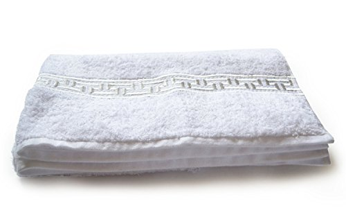 Amore Beaute Greek Key Embroidered Gift Towel, Wedding Gift, Cotton Anniversary Gift