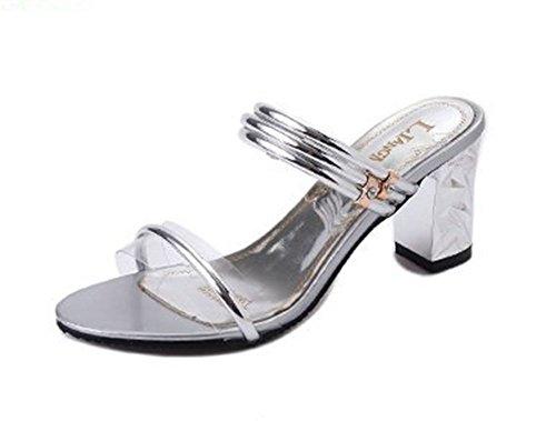 Transparent Open Toe Sandales Slip Mèche Femmes Hauts Talons Pantoufles Femmes Bling Chaussures Sandales on SBqp4a