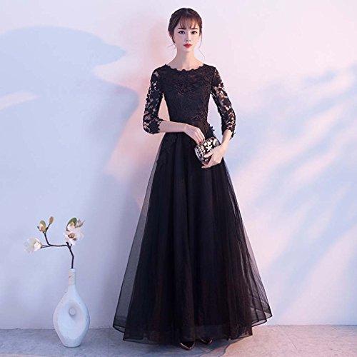 Sección Tamaño Comprometido Gris gris Vestido De Larga Noche Siete color Negro Novia Rosa Mangas Formal Metro Banquete Puntos negro qwwR1gt