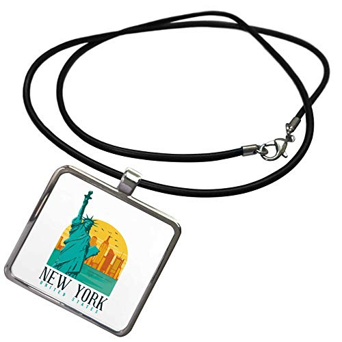3dRose Sven Herkenrath City - Retro and Vintage of New York with Statue of Liberty - Necklace with Rectangle Pendant (ncl_310988_1)