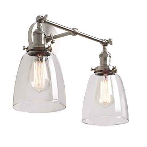 Phansthy Vintage Wall Sconce 2 Light Wall Light Clear Glass Industrial Wall Sconce Light Fixture - Double Wall Sconce