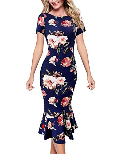 VFSHOW Womens Navy Blue Floral Print Elegant Vintage Casual Cocktail Party Bodycon Pencil Mermaid Midi Mid-Calf Dress 3385 BLU XS