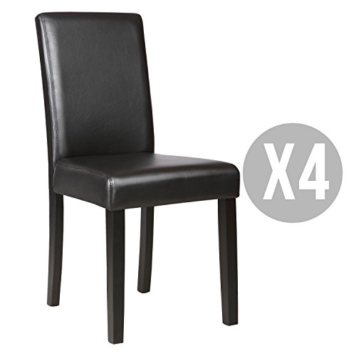 Kitchen Dinette Dining Room Chair Elegant Design Leather Backrest,Set of 4,Black (Dining Room Set Black)