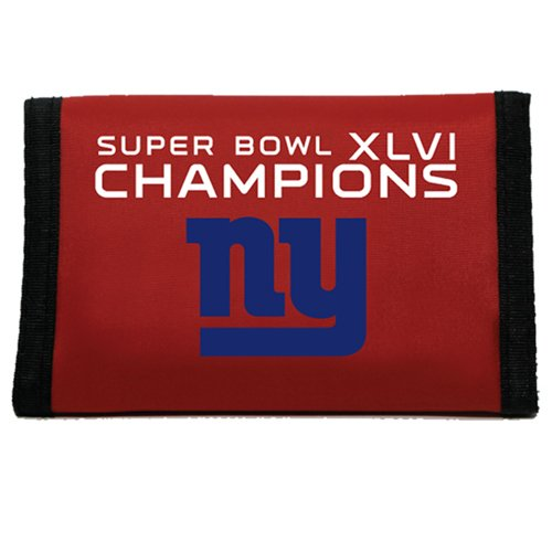 NFL New York Giants Super Bowl XLVI Champions Red Nylon Tri-Fold Wallet ()