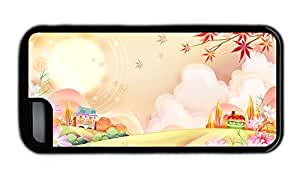 Funny iphone 5C best cover Vector illustration landscape TPU Black for Apple iPhone 5C
