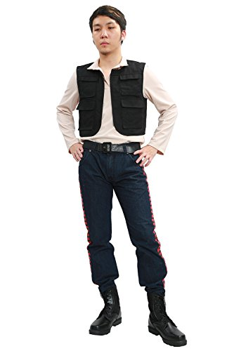 Adult Han Solo Costume Vest & Shirt & Pants Outfit Suit for Halloween XXL (Han Solo Costume Shirt)