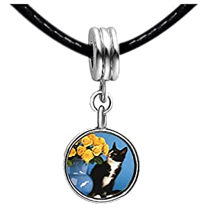 Chicforest Silver Plated Cat With Flowers Photo Black Crystal Flower dangle Charm Beads Fits Pandora Bracelets