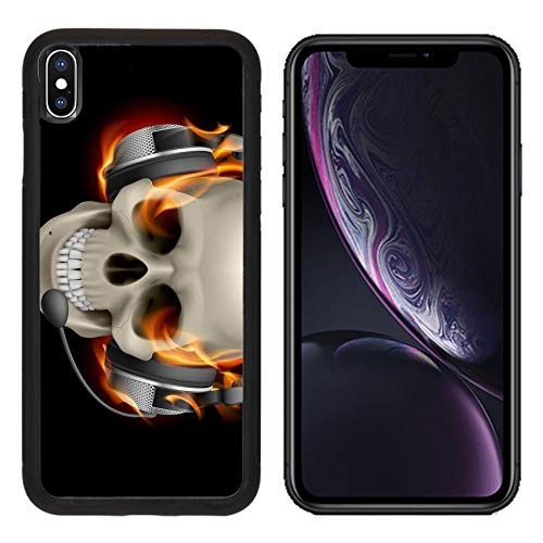 MSD Apple iPhone XR Case Aluminum Backplate Bumper Snap Case Image ID: 13444537 Flaming Skull with Headphones Illustration on Black Background