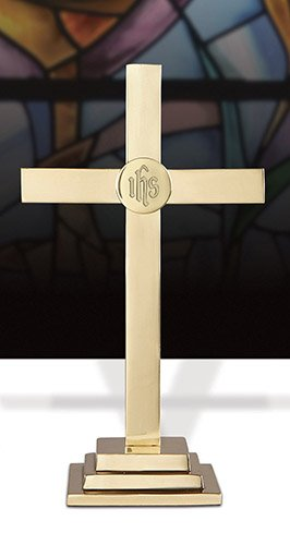 Brass Square Base (15 Inch Altar Cross - Square Base - Highest Quality - Made of Solid Brass)