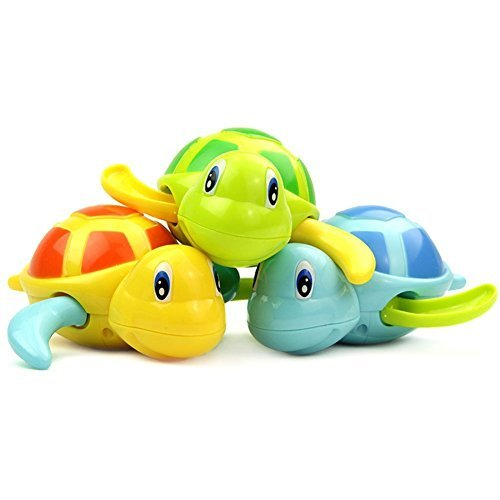 Ssym Fgzt Set of 3 Baby Bath Toys Swimming Tub Bathtub Cute Swimming Turtle Toys Floating Wind-Up Bath Animal Boys and Girls for 1 Year Old to 3 Year Old for Blue Yellow Green (Bathtub Toy Set)