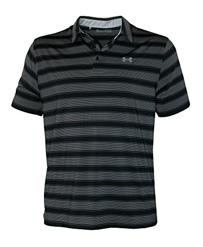 Under Armour Men's Performance Golf Polo CoolSwitch Shirt Striped Top (Black, L) ()