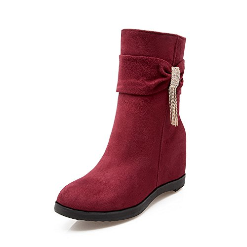 Red Spun Boots Chain AdeeSu Frosted Bowknot Metal Womens Heighten Inside Gold FqWWRfwvP