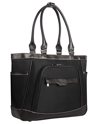 CoolBELL Women Tote Bag 15.6 Inch Laptop Shoulder Bag With Removable Laptop Compartment Leisure Handbag Top-handle Briefcase With Functional Pockets (Black)