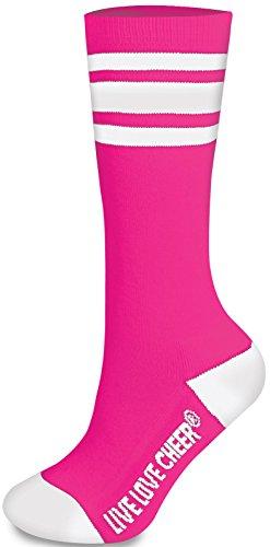e430c8e316b5c Cheerleading Striped Knee-High Socks Bright Pink Adult