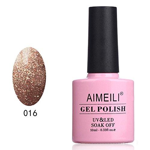 AIMEILI Soak Off UV LED Gel Nail Polish - Tinsel Toast Gold