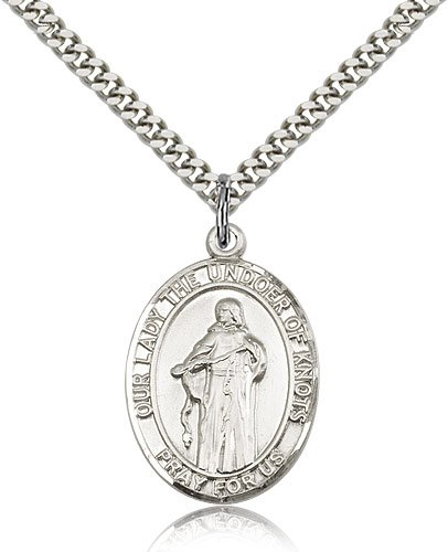 24 Chain Sterling Silver Our Lady Of Knots Pendant