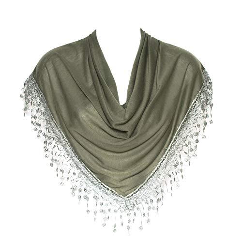 Scarf Khaki - Stylish Khaki Green Triangle Bobbin Lace Fringed Ladies Womens Scarf Shawl Wrap