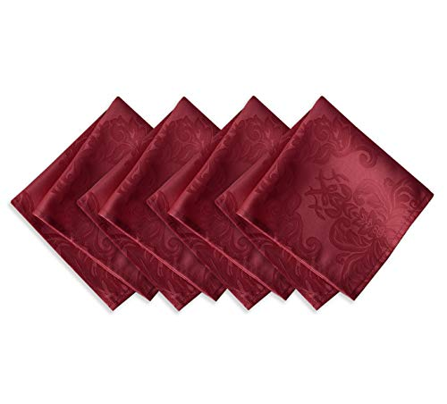 Newbridge Barcelona Luxury Damask Fabric Napkin Set, 100% Polyester, No Iron, Soil Resistant Holiday Napkins, Set of 4 Fabric Napkins, Burgundy