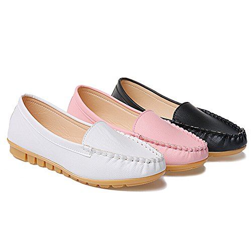 Angelliu Women Casual Soft Leather Ballets Flats Spring Autumn Slip-on Comfy Work Shoes Black by Angelliu (Image #3)