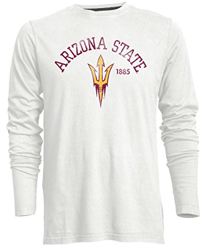 Camp David Men's NCAA Arizona State Sun Devils Signature Crew Neck Long Sleeve Tee, Ivory - X-Large