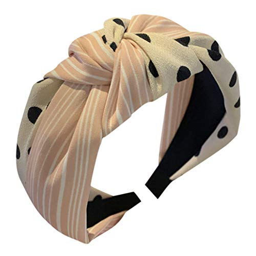 RTYou Knot Wide Headbands for Women Polka Dot Hair Band Knotted Tie Patchwork Hair Hoop Lightweight Bandanas (White)