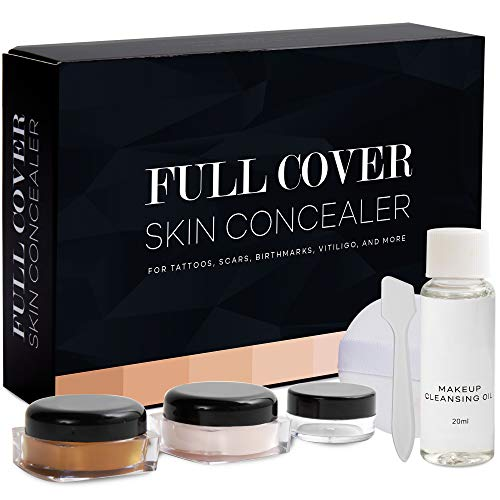 Glossiva Skin Concealer - Tattoo Concealer - Waterproof - For Dark Spots, Scars, Vitiligo, And More - Tattoo Cover-Up Makeup - Use on Body, For Legs, for Men