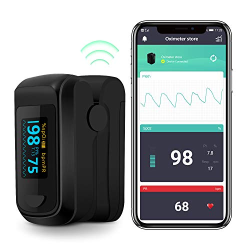 Pulse Oximeter Bluetooth Blood Oxygen Saturation Monitor, Pulse Rate Monitor for Apple and Android with 2 AAA Batteries Lanyard (Gray)