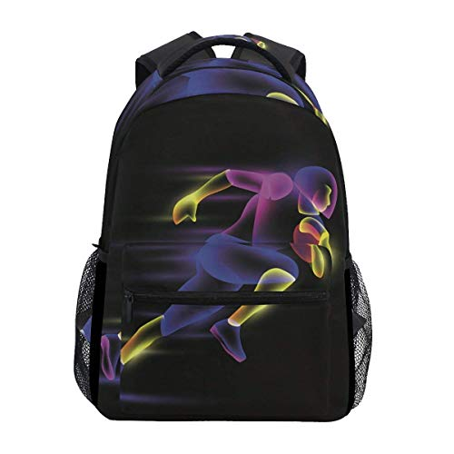 Girls School Backpack Abstract Football Player College Book Bag Lady Travel Rucksack