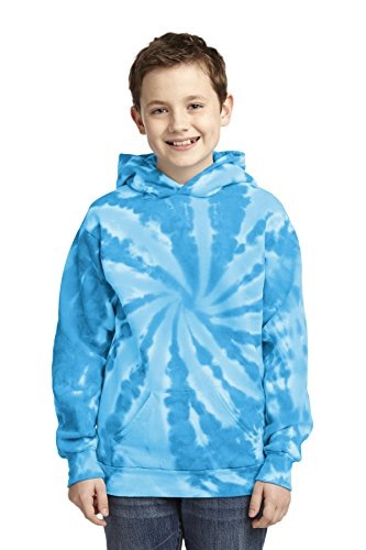 Port & Company Boys' Essential Tie Dye Pullover Hooded Sweatshirt XL Turquoise