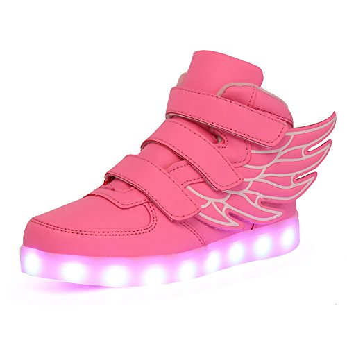 CIOR Kids Boy and Girl's 11 Color Wings Led Sneakers Light Up Flashing Shoes,102,06,36, 4 M US Big Kid, 02Pink
