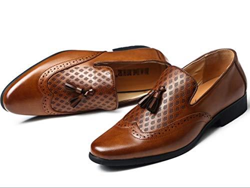 Señalado Brown Hombres Home Cuero Mon5f Casuales 41 De Size Británico Negocios Tallados Black Brock Zapatos Viento Para Retro color AOq4wxUB