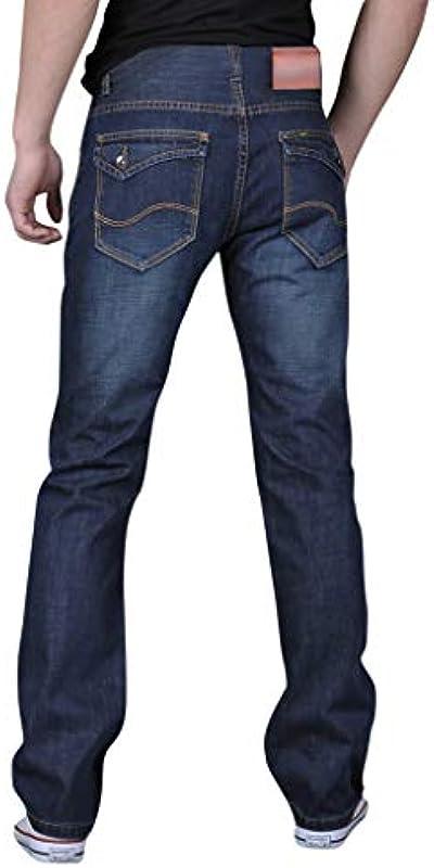 Ansenesna męskie dżinsy Bootcut Regular Fit Spodnie męskie Straight Denim Spodnie na czas wolny Proste nogawki Długie spodnie jeansowe: Odzież